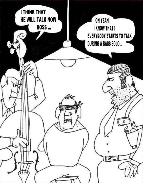 cartoon everyone talks during a bass solo