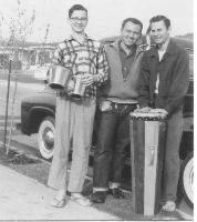 my brother Richard holding one of my first sets of bongos, George Garvey (the boss  								for our newspaper routes and a good friend), and myself with my first conga