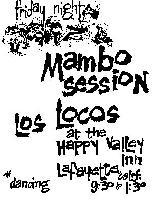 poster for los locos friday night mambo session at the happy valley  								inn lafayette calif by joyce zaveleta